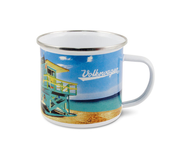VW T1 Bulli Bus Tasse emailliert 500ml - Beach Life
